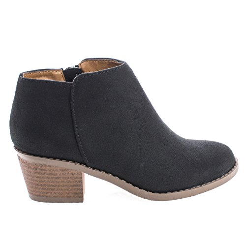 Soda Women's Mug Round Toe Faux Suede Stacked Heel Western Ankle Bootie,Black,10