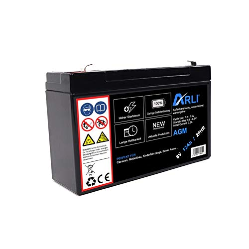 Akku für AGM Blei 6V 12Ah 20HR Batterie Glasfaservlies Bleiakku Bleigel Vlies wartungsfrei Technik Universal