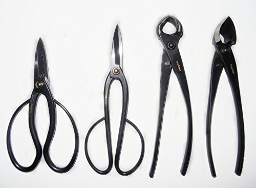 TinyGreen 4 Piece Japan Bonsai Tool Set: Professional Grade Japanese Concave Cutters and Spherical Knob Cutters Butterfly and Ashinaga Shears