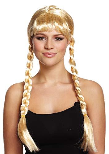 Emmas Kleiderschrank Pigtail Blond Zopf-Perücke mit roten Bögen - Ideal EIN Gretel oder Oktoberfest Kostüm zu beenden (Plait)