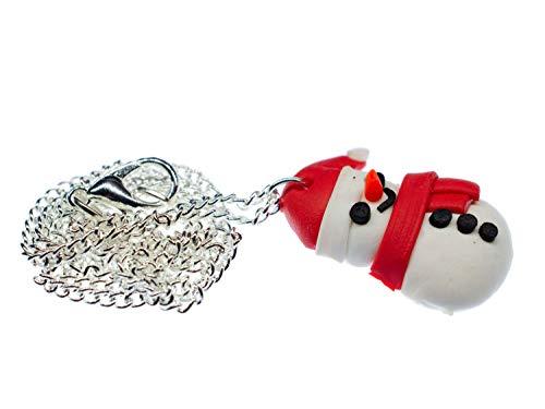 Miniblings muñeco de Nieve 45cm Plana Colgante de Collar de Navidad de Invierno - Cadena de eslabones de Plata - joyería Hecha a Mano Moda