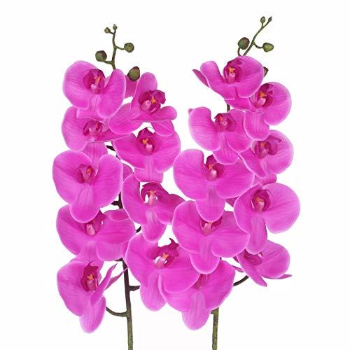 takestop® Ramo Orquídea Phalaenopsis Artificial Falso Ramo Flores Cerradas Decoración Composición Floral Boda Cenicero Funeral, Fucsia