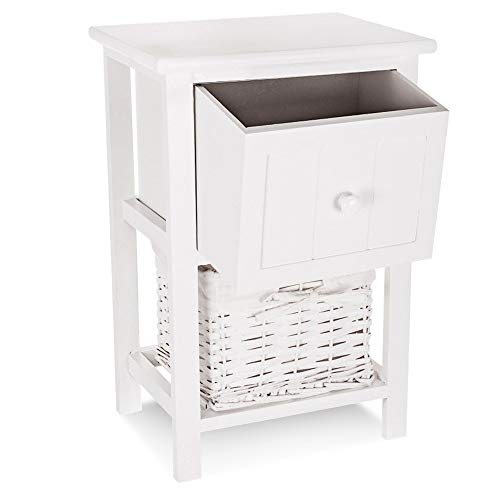 LIVIVO White 'Shabby Chic' Style Wooden Bedside Cabinet Ready Assembled with Upper Wooden Drawer and Cloth Lined Wicker Storage Basket - No Assembly Required