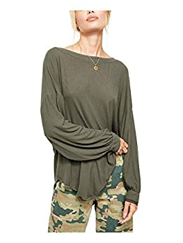 Free People Shimmy Shake Top Army LG  Women s 12-14
