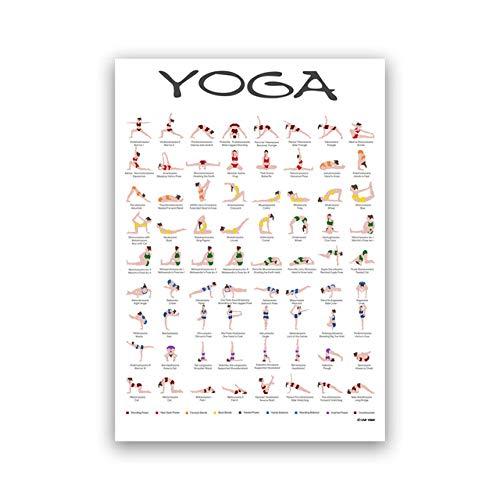 LHXJCBHDWXD Póster de Yoga Surya Namaskar Sequence Sun Prints Hatha Yoga Asanas Chart Lienzo Pintura Yogis Regalo Yoga Gym Arte de la Pared Decoración Sin Marco-A_40X50cm