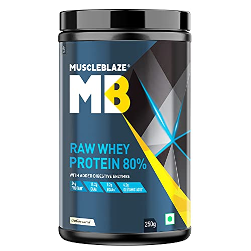 MuscleBlaze Raw Whey Protein Concentrate 80% with Added Digestive Enzymes, Labdoor USA Certified (Unflavoured, 250 g / 0.55 lb)