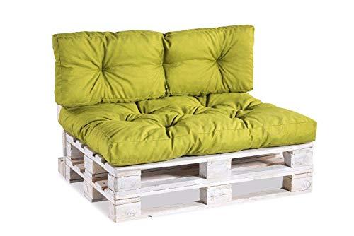 Palettenkissen Palettenauflagen Sitzkissen Rückenlehne Gesteppt PPI (Sitzkissen 120x60 Gesteppt, Limette)