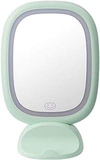 Led Makeup Mirror Table lamp Desktop Charging lamp Large Wall Mounted Portable Princess Dressing Mirror Size: 276 × 121 × 117mm (Color : Green)