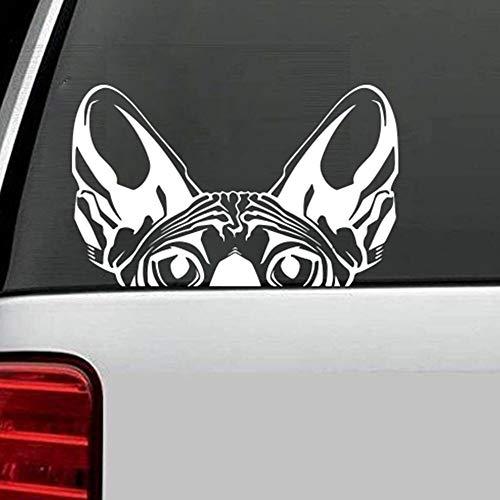 Dibujos Animados Sphynx Cat Head Peaking Car Laptop Wall Decal Dormitorio Sofá Mascota Animal Gato Cabeza de Perro Etiqueta de la Pared Vivero Vinilo Decoración para el hogar 56 * 35CM