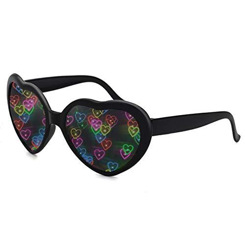 Herz Effekt Beugungs Brille - Siehe Herzen, Musikfestival Party Fektbrille Geeignet für EDM Fasching Karneval slichter Bar Feuerwerk Effekt (Schwarz)