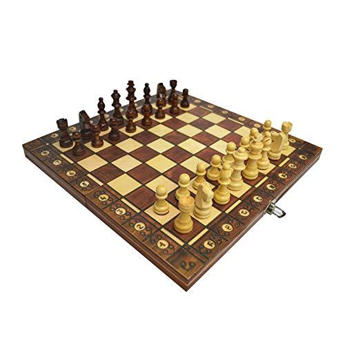 MICOLOD 3 en 1 Ajedrez de Madera Checkgammon Damas de Viaje Juego de ajedrez Juego Juego Entretenimiento Niños Bolsillo Plegable magnético (Color : 29X29CM)