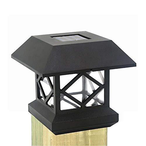 4X4 Solar Pfostenkappen Leuchten Außenbereich, Wasserdichten LED Zaun Pfosten Solarleuchten für Holzpfosten, Terrasse, Deck oder Garten-Dekoration,Schwarz,warm Light