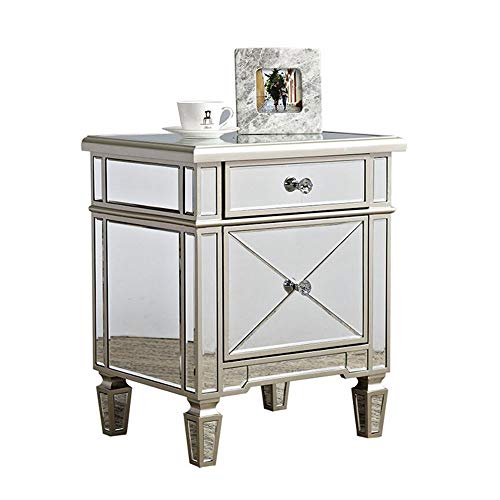 LAOHETLH Mirror Bedside Table Mirror Side Table With Drawers Mirror Glass Bedside Table with Crystal Handles Modern Bedroom Furniture Side Table Storage Cabinet Unit for Living Room (Color : Silver)