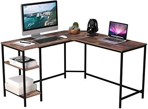 String light Escritorio de la computadora Esquina de la Tabla de Mesa Mesa de Oficina con 2 estantes for los Juegos de Oficina en Forma de L 135x135x75.5cm Tamaño de la Vendimia