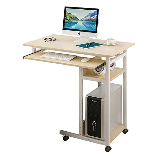 DM&FC Movable Lifting Bedside Table with Keyboard Tray,Adjustable Height Computer Desk Lazy Desktop Table with Storage Shelves for Sofa Couch
