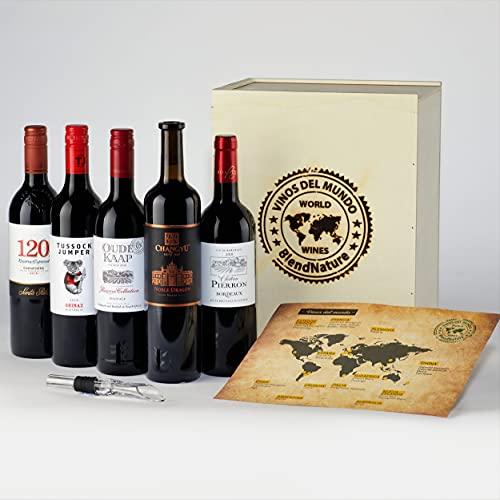Caja Regalo Vinos del Mundo – Cata los Vinos Tintos de los 5 Contienes - Elegante Estuche de Madera ––Ideal para Regalar - Incluye Aireador