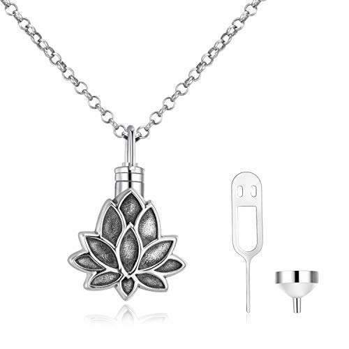 WINNICACA Urne Halsketten für Asche Sterling Silber Lotus Feuerbestattung Andenken Urnen Schmuck w/Trichterfüller