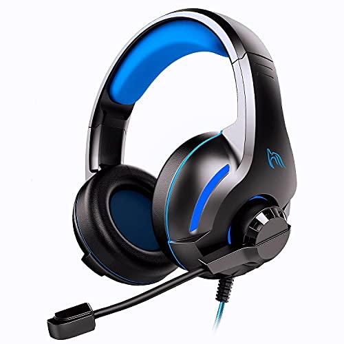 Cuffie Gaming per PS4 PC PS5 Xbox One, Cuffie da Gioco con Microfono Pieghevole Cancellazione Rumore, 3D Surround Stereo Audio, Controllo del Volume e 3.5mm Plug per Laptop Mac TM-70