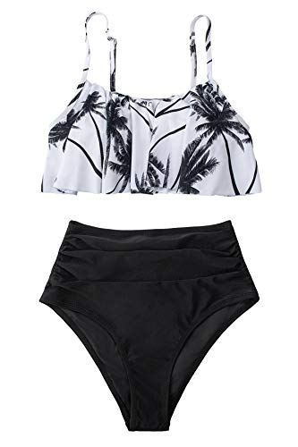 CUPSHE Damen Bikini Set Rüschen Bikini Tropisches Palmenmuster High Waist Bademode Zweiteiliger Badeanzug Schwarz/Palmen XXL