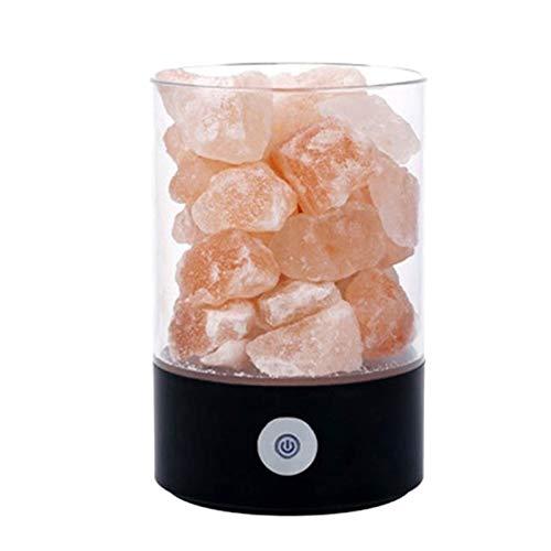 Suading Lámpara de sal del Himalaya, lámpara de sal rosa de Hymalain natural, luz de noche con interruptor de prensa (negro)