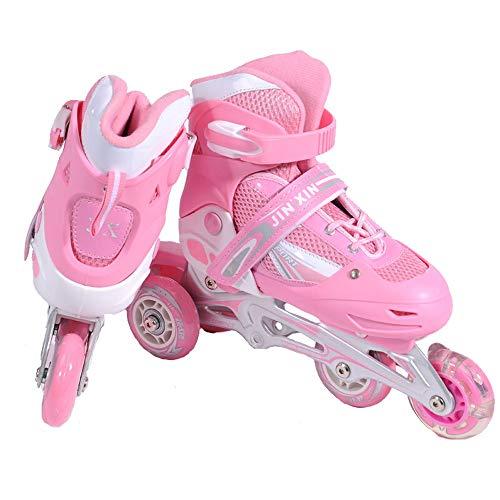 Yjdr Verstellbare Rollschuhe, Kinderrollschuhe, eine ganze Reihe von zweireihig Roller Skates, Räder mit Beleuchtung, Inline-Räder 3, Can Be zweireihig Rosa, Rot, Blau (Color : Rosa, Größe : S)