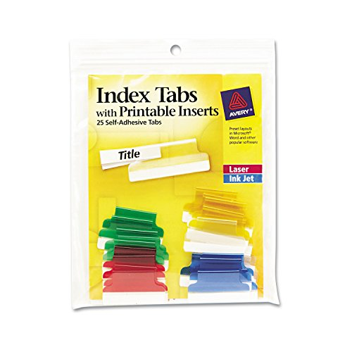Avery 16219 Insertable Index Tabs with Printable Inserts, 1, Assorted Tab (Pack of 25), Assorted: Blue, Clear, Green, Red, Yellow