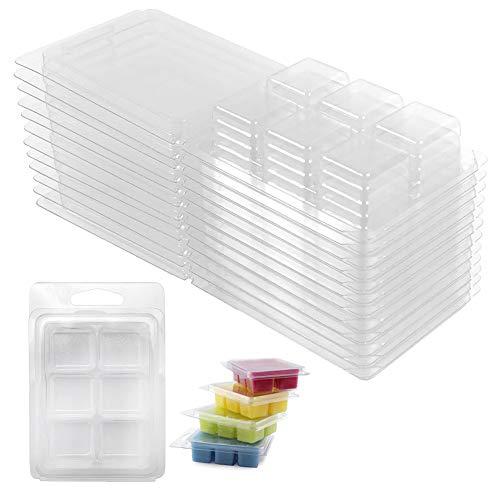 Feelava Moldes de cera para derretir 50 unidades, 6 cavidades, de plástico transparente, para hacer velas y cajas de cera de jabón