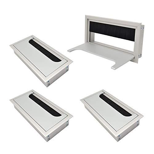 LIKERAINY Passacavo per Scrivania 80x 160mm Pressacavo Tappo Passacavi per Tavolo da Ufficio Mobili per la Casa CAVO in Alluminio Argento Anodizzato Quadrato 4 Pezzi