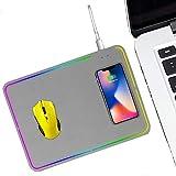 RGBライトゲーミングマウスパッドと10Wワイヤレス充電器、Qi認定の超薄型高速充電マット(Samsung Galaxy S10 / S9 / S8 Plus Note 10/9/8 iPhone 1,グレー