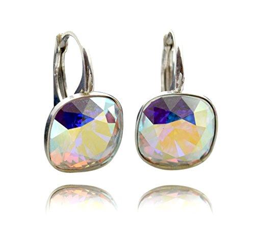 Crystals & Stones *Crystal AB* Silber 925 *SQUARE* - Ohrringe mit Kristallen von Swarovski® - Schön Ohrringe Damen Ohrhänger - Wunderbare Ohrringe mit Schmuckbox