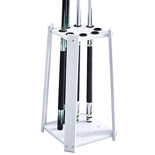 MYLW Billard Queue Halter Weißer Bodenständer Poolstockhalter, Kleiner Moderner Cue Rack Display Stand für Spielzimmer Golfschläger - Hält 8 Billard Queues, 60cm Groß