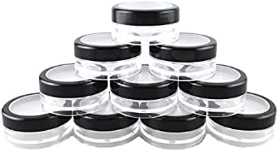 yueton 10pcs Black Edge Open Window 10 Gram Empty Clear Plastic Powder Compact Cosmetic Containers