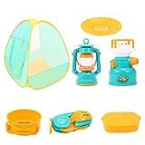 NUOBESTY 7Pcs Kids Play Tent Pop up Tent con Niños Camping Set de Juguetes Al Aire Libre Herramientas de Camping Set para Niños Niña Niño