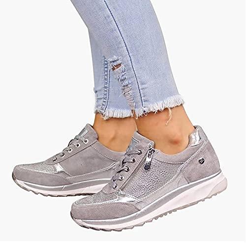 BTKD Sandalias de Vestir Zapatillas Deportivas de Mujer Moda Cremallera Cordones Zapatillas de Running Fitness Sneakers Casual Zapatos para Caminar,Plata,42