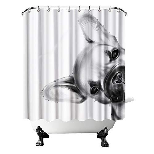 OuElegent French Bulldog Shower Curtain Puppy Animal Pet Bathtub Curtain Black and White Fabric Shower Curtain for Kids Bathroom Decor 12 Hooks 72'x72'