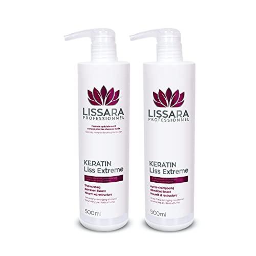 Duo Shampoo e Balsamo Senza Solfato - Con cheratina - Post Trattamento Cheratina - Made in France - 2 x 500ml
