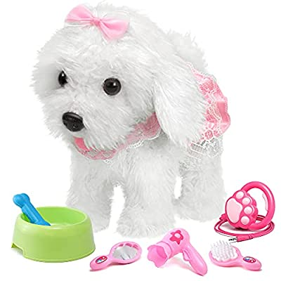 OR OR TU Remote Control Electronic Plush Puppy Toy Pet for Girls Kids Interactive Toys,Walks,Barks,Shake Tail,Pretend Dress Up Realistic Stuffed Animal Dog for Age 2 3 4 5+ Years Old Best Gift from OR OR TU