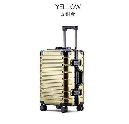 "AHJSN Neue Aluminium Rahmen Trolley gepäck universal Rad Passwort Box internat 20/24/26/28 inch Koffer net rot Reise gepäck Fall 26\"" Gold"