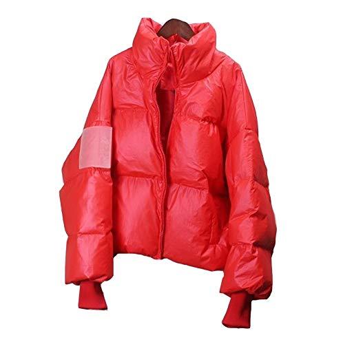 ZYHWS - Chaqueta de invierno para mujer, con cuello alto, grueso, suelta, de gran tamaño, para mujer, color rojo, talla XL, color