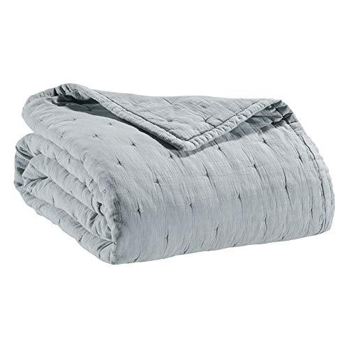 Vivaraise - Plaid Ming – 120x180 cm – 100% Coton lavé Stonewash - Couverture d'appoint Chaude, jeté de canapé Doux – Brodé