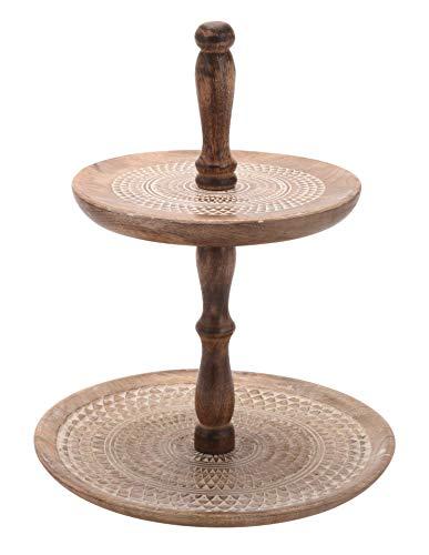 Meinposten. Etagère van mangohout hout fruitetagère serveerschaal decoratieve schaal fruitschaal houtetagère 30x40cm