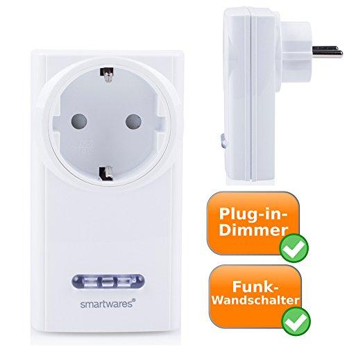 Plug-In-Dimmer für Wandsteckdosen - Immer das richtige Licht für jede Stimmung, mit 30 Meter Funkreichweite - Steuerung der Helligkeit von dimmbaren Lampen per Fernbedienung (exkl.) EINFACHE Anwendung