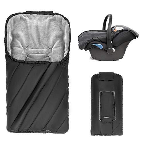 Zamboo Saco de invierno PRO Grupo 0+ para cinturón de 3 y 5 puntos/Saco para silla de coche con forro polar térmico, capucha y bolsa - Negro