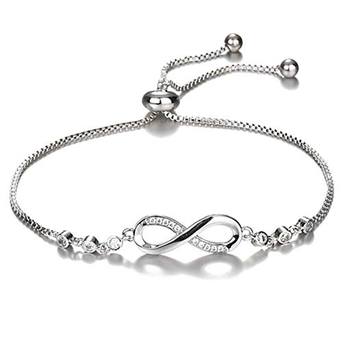 salefun Pulsera ajustable de la amistad de plata brillante, con circonitas cúbicas, con acento de infinito, para Navidad, regalo de San Valentín, Día de la Madre