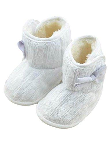 cooshional Scarpe neonata scarpe per bambini per inverno in cotone suola di antiscivolo bianco