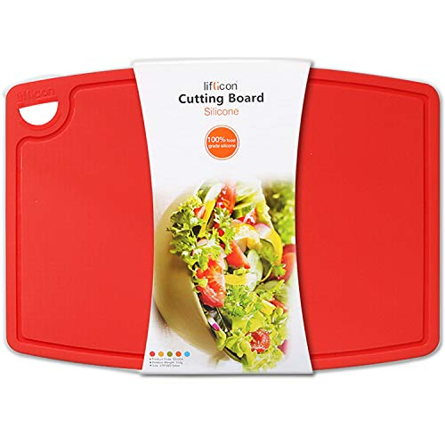 Liflicon Extra Large Thick Silicone Cutting Board 14.6'' x 10.43'' BPA Free and FDA Approved Chopping Board Flexible Cutting Mats Dishwasher Safe-Red