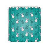 Meishikaeu Cute Rabbit CartoonBathroom Curtains Bath Decorations Waterproof Shower Curtain Set Bathroom Accessories with Hooks 72x72 Inch