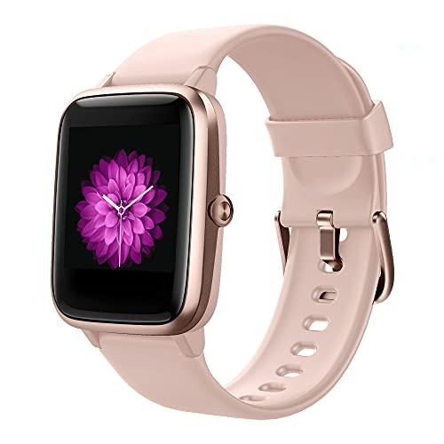 GRDE Reloj Inteligente Mujer, Smartwatch con Pulsómetro/Cardíaco/Sueño Monitoreo, 5ATM Impermeable Control de música Podómetro Caloría GPS, Cronómetro y Relojes con Despertador para Xiaomi iPhone