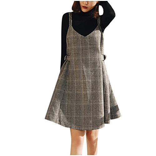 Dames Casual Suspender Harige Jurk, Dames Basic V-hals Hoge taille Plaid Winter Mini Skater Rok, Casual Strapless Riem Rits Mini Jurk