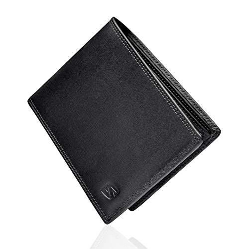 SERASAR | Leder Geldbeutel Männer mit RFID Schutz | Schwarzes Nappaleder | 12 Kartenfächer | Exklusive Geschenkschachtel | Tolle Geschenkidee | Leather Wallet for Men | Herren-Lederbörse
